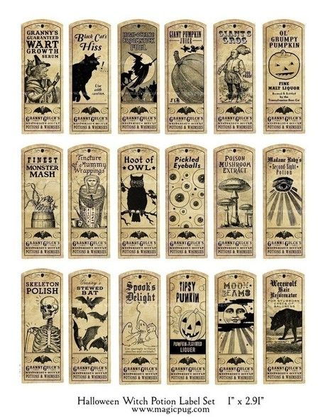 Halloween Witch Potion Label digital collage sheet bat cat holiday wicca 1x3 27mm x 73mm labels | Halloween & Spooky Fun Stuff~ | Scoop.it