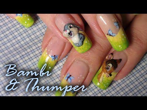 Disney Inspired Bambi Nail Art Tutorial Acrylic 3d Nail Art
