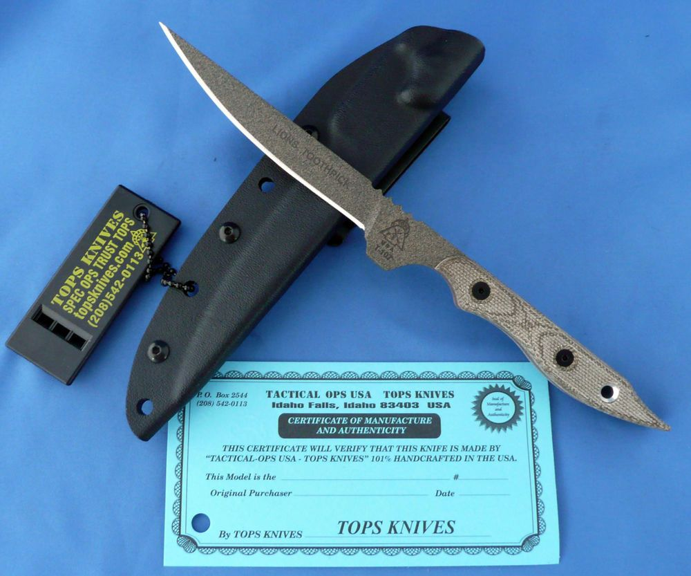 Tops Lion S Toothpick Knife Green Canvas Micarta 1095 Carbon Steel Usa Ebay Knife Tops Knives Micarta