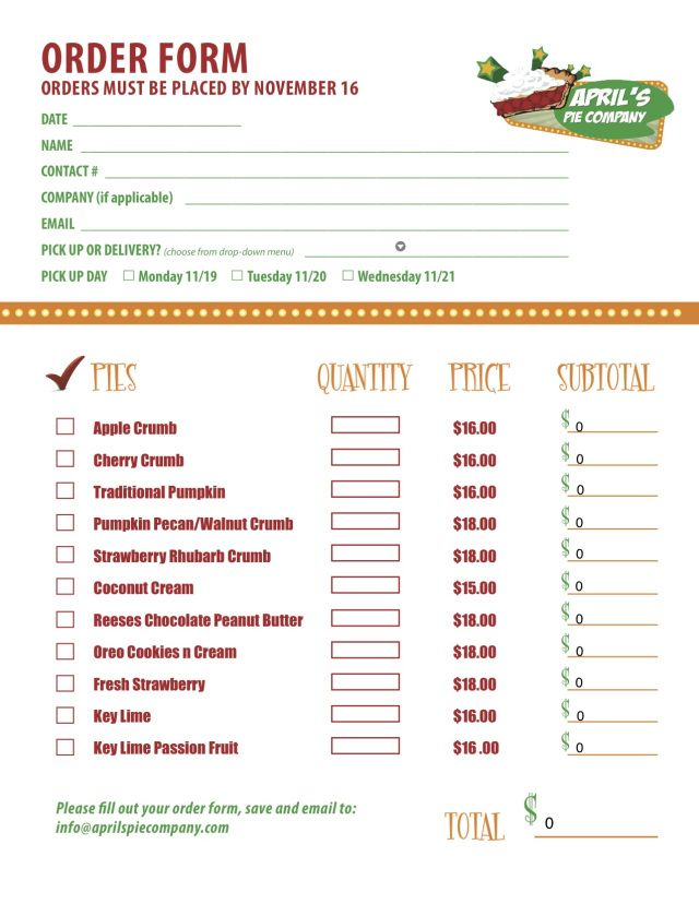 Part  Of A Custom Menu Order Form We Created For Delicious