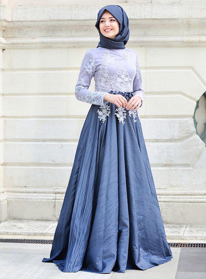 Mavi Renkli Tesettur Mezuniyet Elbise Modelleri Elbise Elbise Modelleri Elbiseler