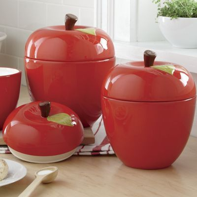 3 Piece Apple Canister Set Canister Sets Canisters Comfortable Kitchen