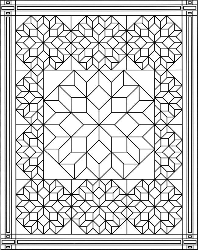 Pretty Quilts Adult Coloring Pages