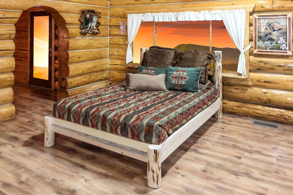 Stillwater Platform Bed, Queen, Unfinished Log bedroom