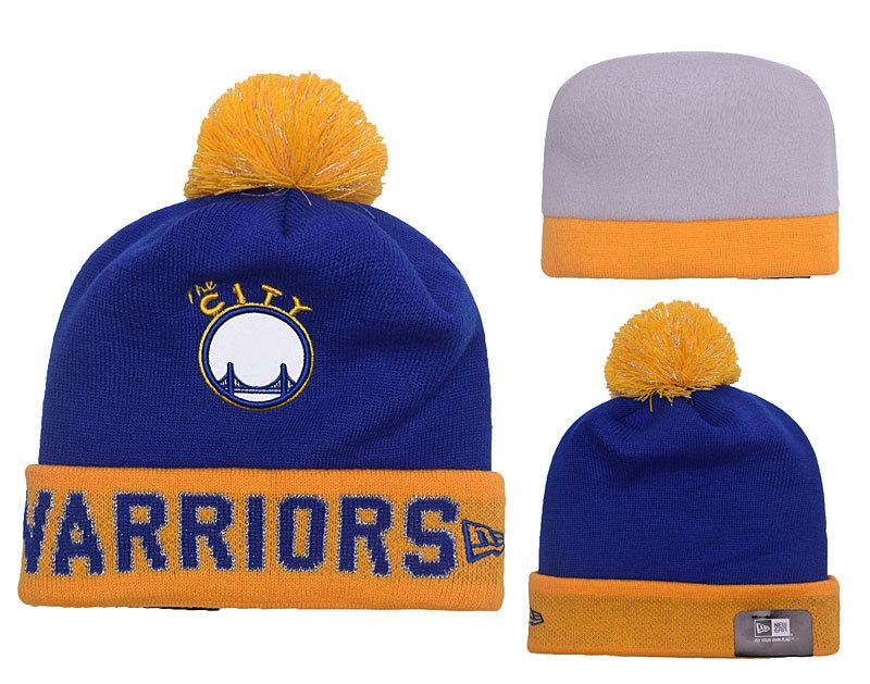 32ae5d5f83e Men s   Women s Golden State Warriors New Era NBA Hardwood Court Big  Reflective Knit Pom Pom Beanie Hat - Royal   Gold
