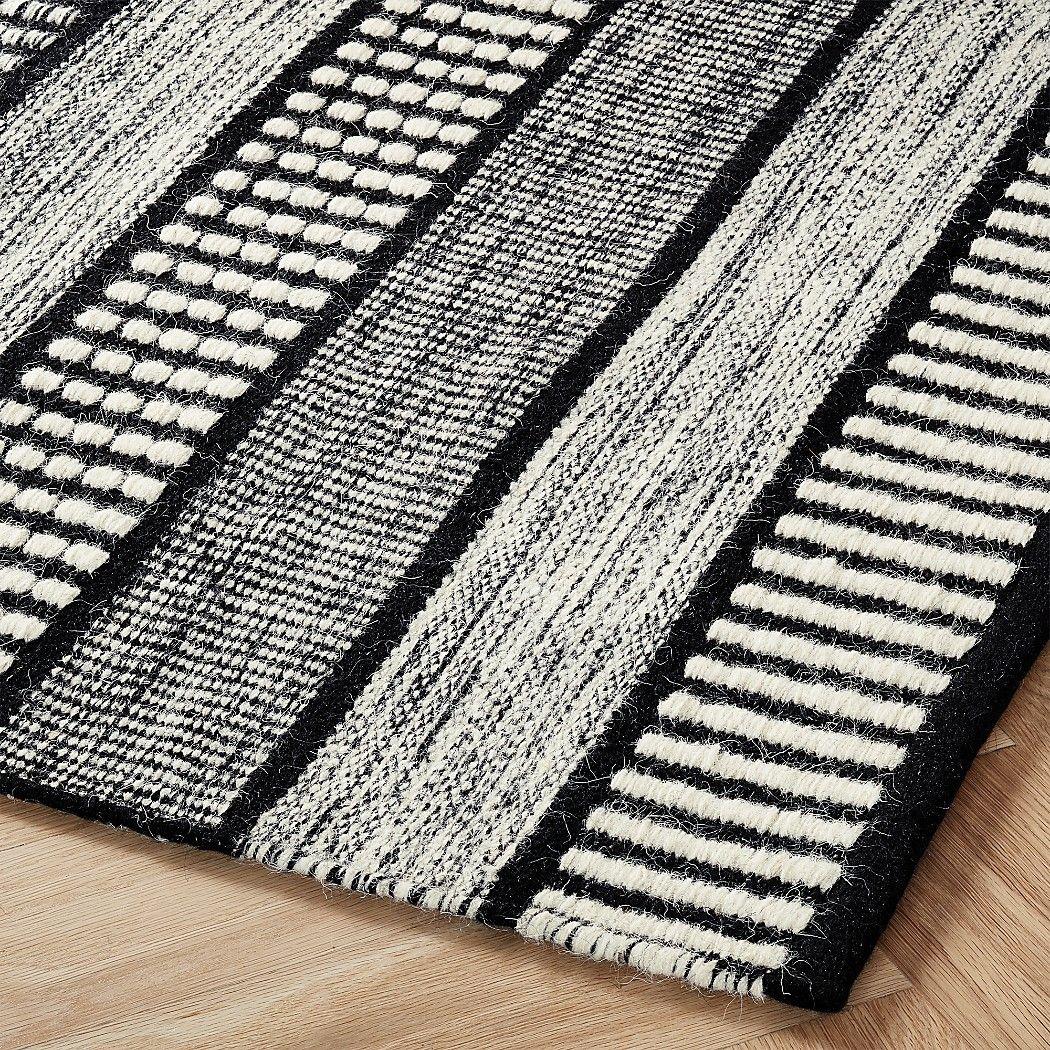 Sloane Handloom Back And White Striped Rug Cb2 In 2020 Black And White Carpet Striped Rug White Rug