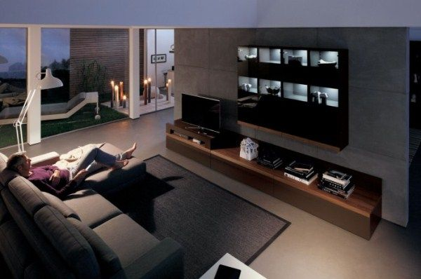 Wooden Finish Wall Unit Combinations From Hulsta Living Room Entertainment Center Living Room Entertainment Dark Wood Living Room