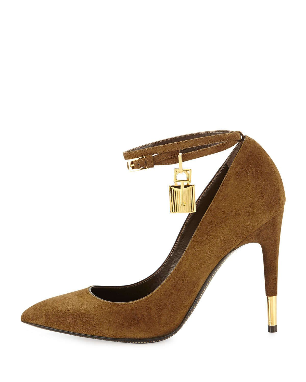 Suede Padlock Ankle-Strap Pump, Brown