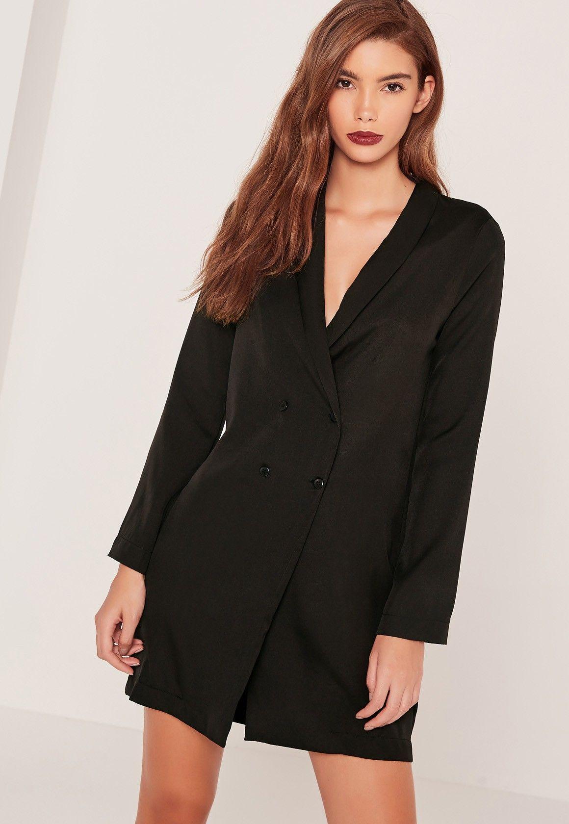 Curved Collar Blazer Dress Black - Missguided