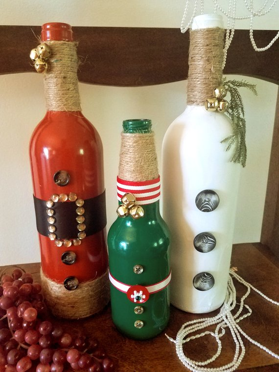 Santa And His Pals Raided A Jingle Bell Store With This Set Help This Set Dash Through The Snow Christmas Wine Bottles Wine Bottle Diy Crafts Christmas Wine