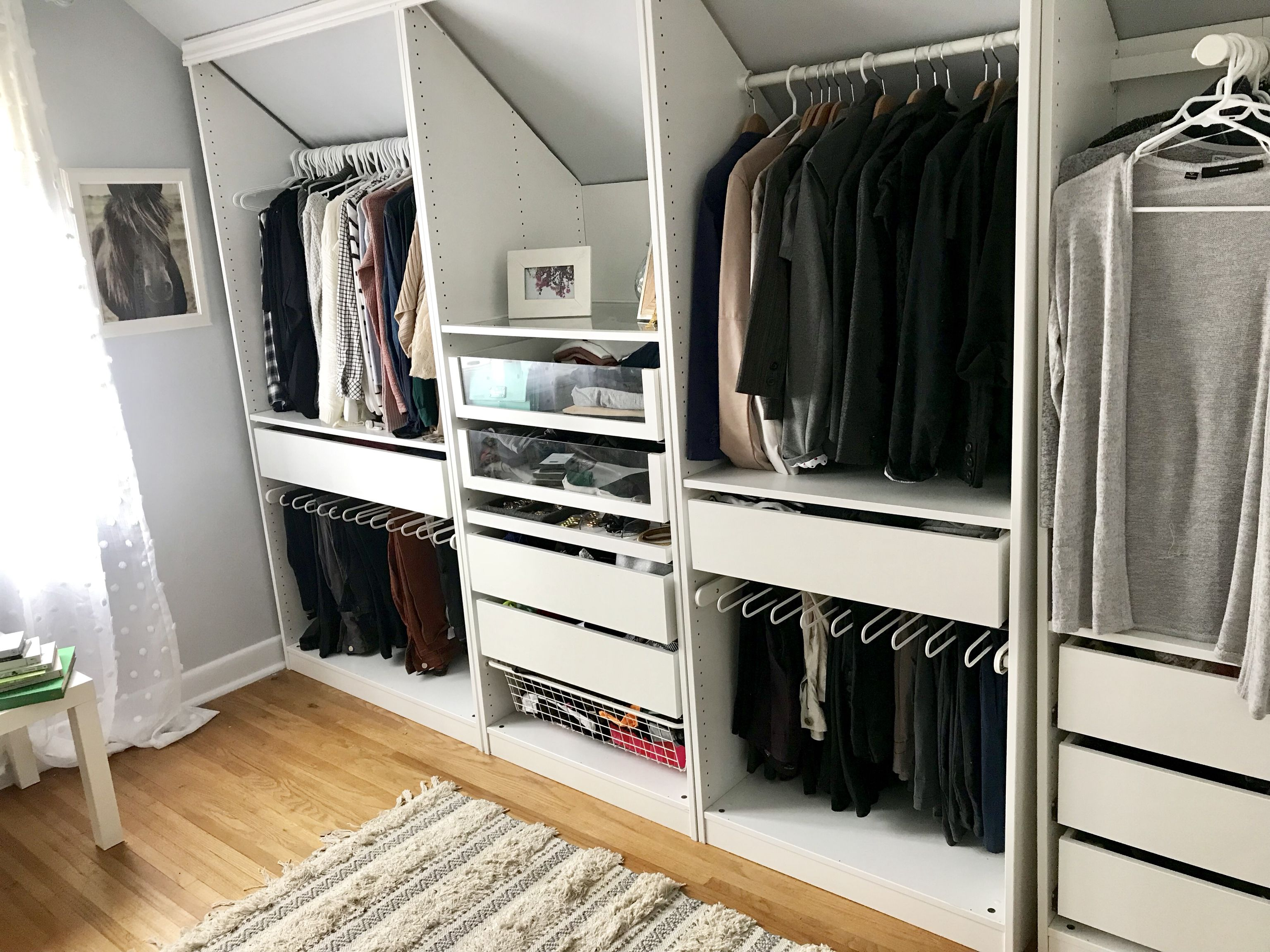 Ikea PAX closet cut to fit slanted ceiling Master