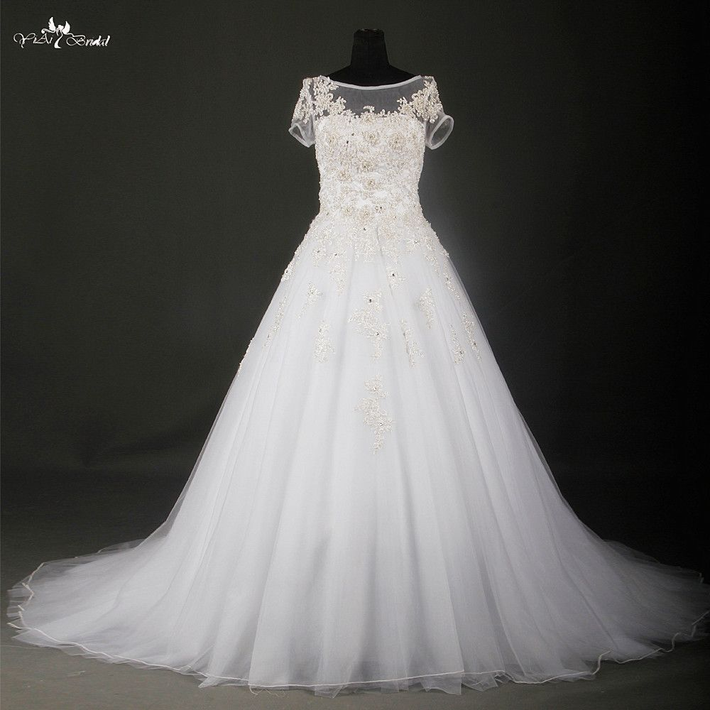 Click to buy ucuc elegant white and silver wedding dresses short