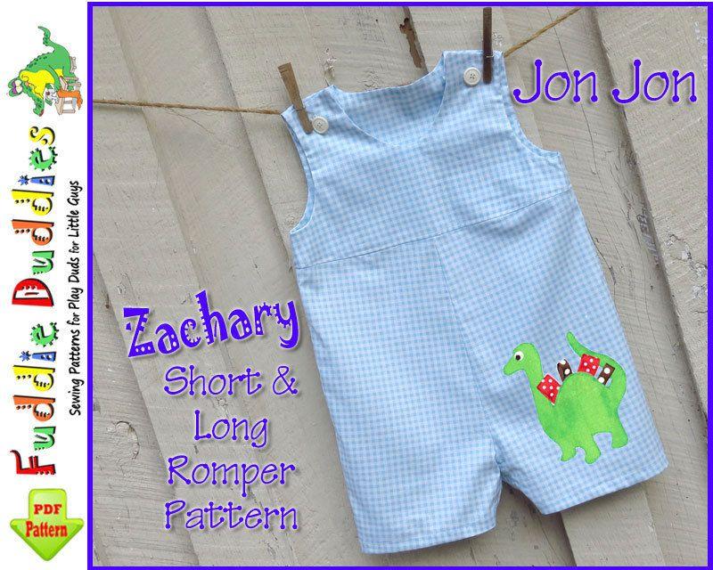 79b41c62a Baby Boy's Romper Pattern, Jon Jon Pattern, Longall pdf sewing pattern.  INSTANT DOWNLOAD. Short and Long Romper Pattern, 6mo-4t. $6,00, via Etsy.