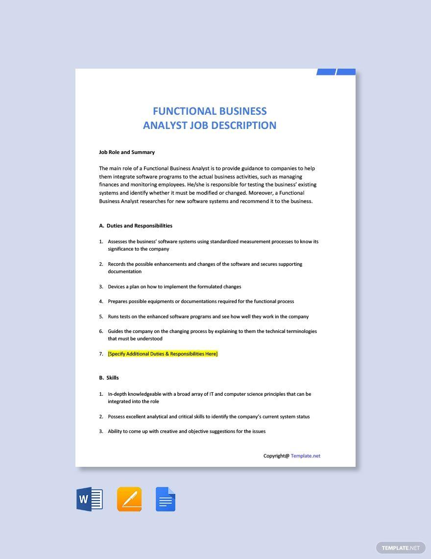 Functional Business Analyst Job Description Template Free Pdf Word Apple Pages Google Docs Job Description Template Job Ads Job Description