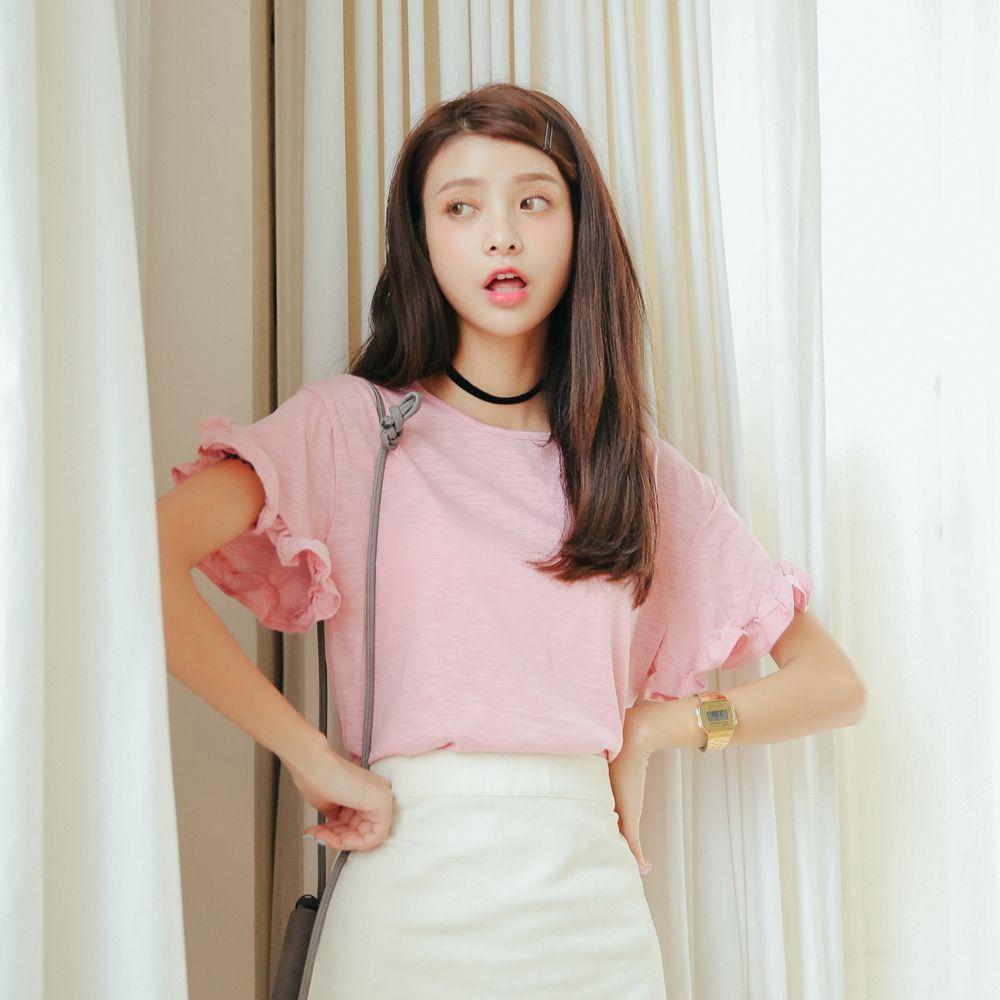 韩国百搭学院风短袖T恤甜美花边竹节棉娃娃上衣荷叶边袖打底衫女