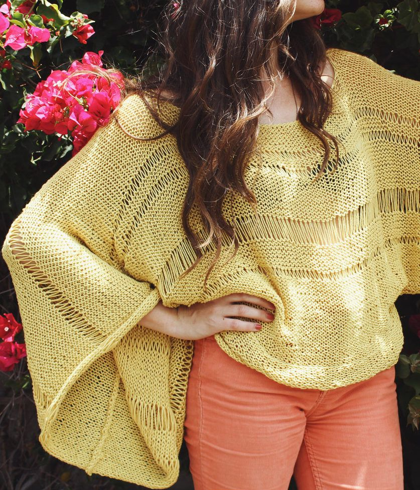 Free Knitting Pattern for Lemon Drop Sweater - This long sleeved ...