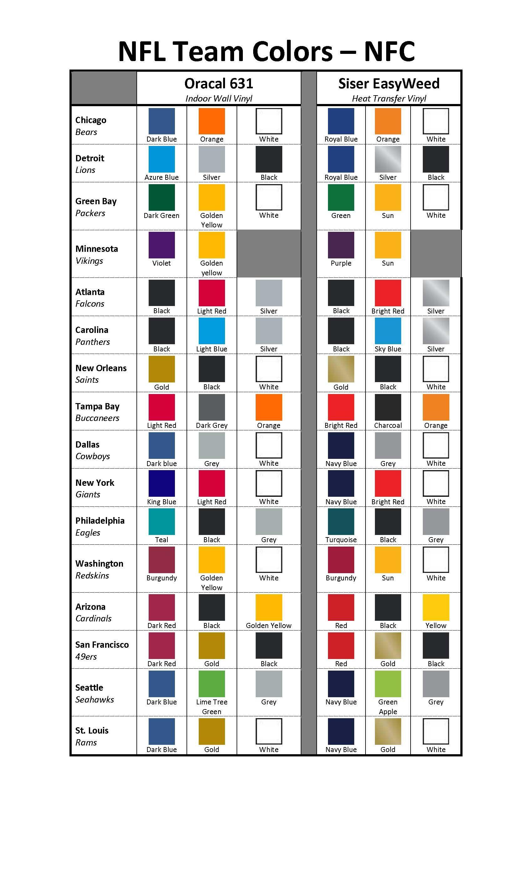 Nfl Nfc Color Chart Nfl Team Colors Team Colors Nfl