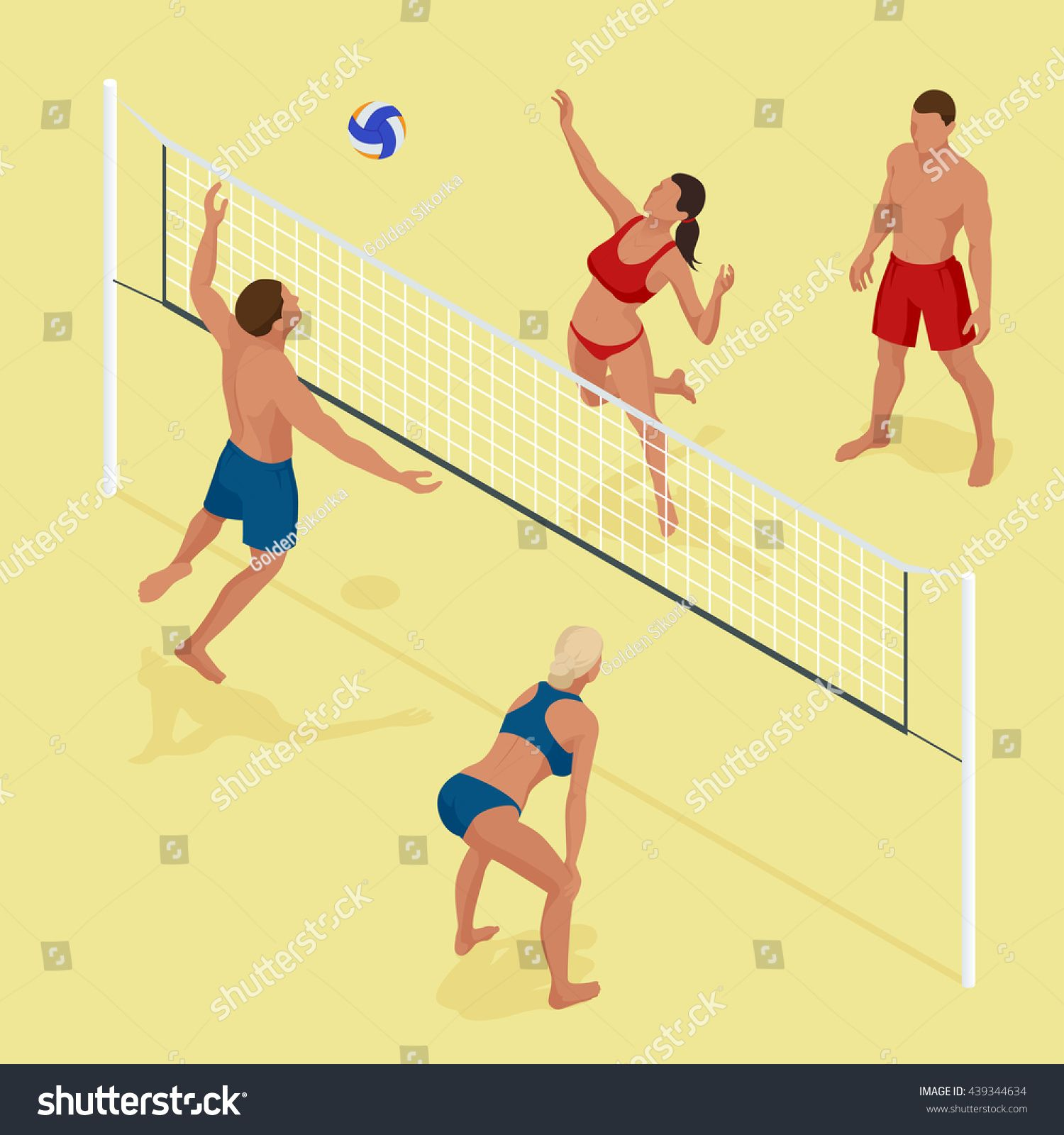 Group Young Friends Playing Volleyball On Beach Beach Volleyball Is A Popular Sport Flat 3d Vector Isometric Ill Fitness Body Workout Videos Beach Volleyball