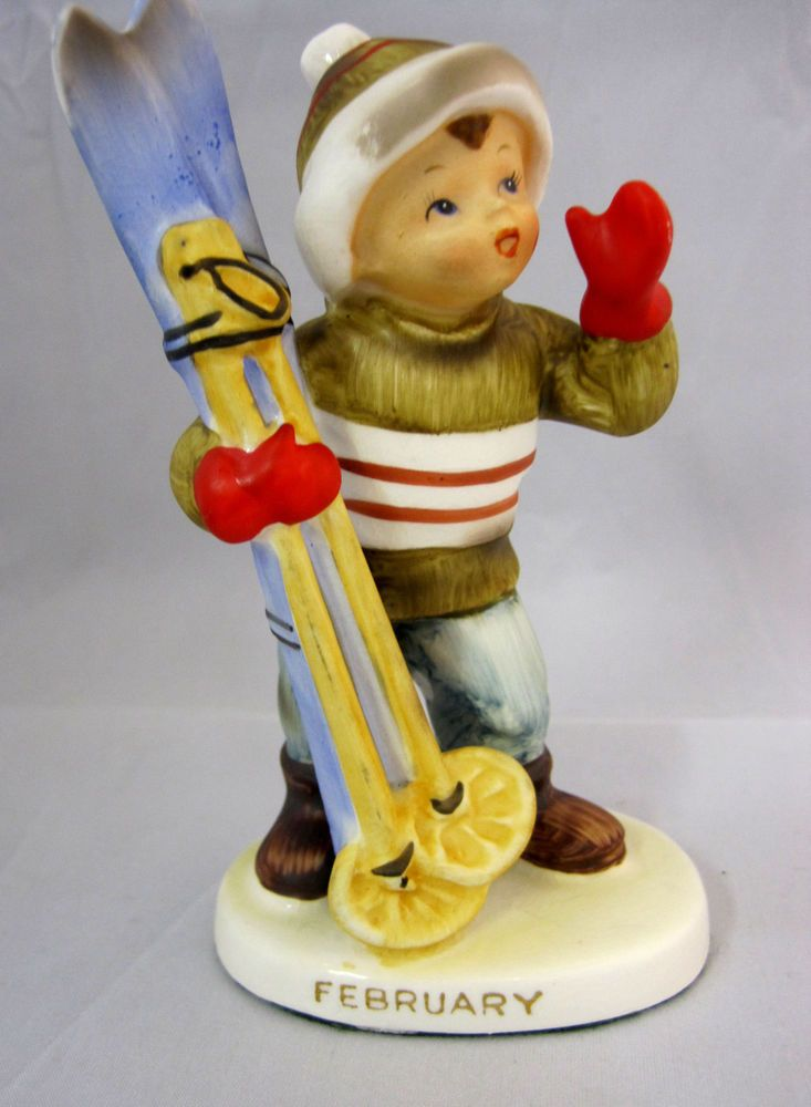 "Lefton Figurine Ski Boy February #2300 5"" Tall  Auction ending soon"
