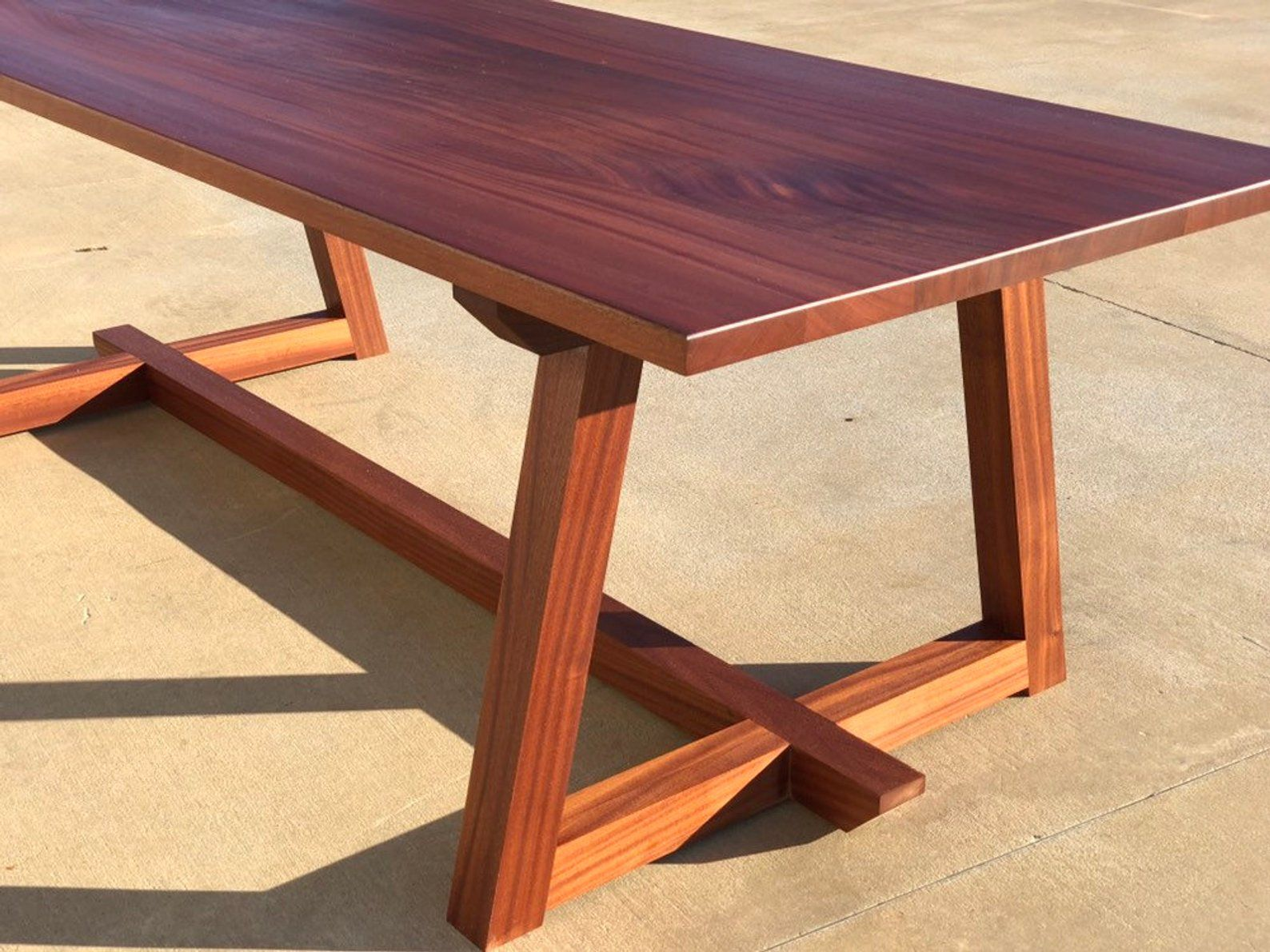 Modern Sapele Wood Dining Table Mahogany Trestle Etsy In 2020