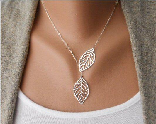 Big leaf necklace Stunning Silver or Gold Leaf by OneStopRetroShop