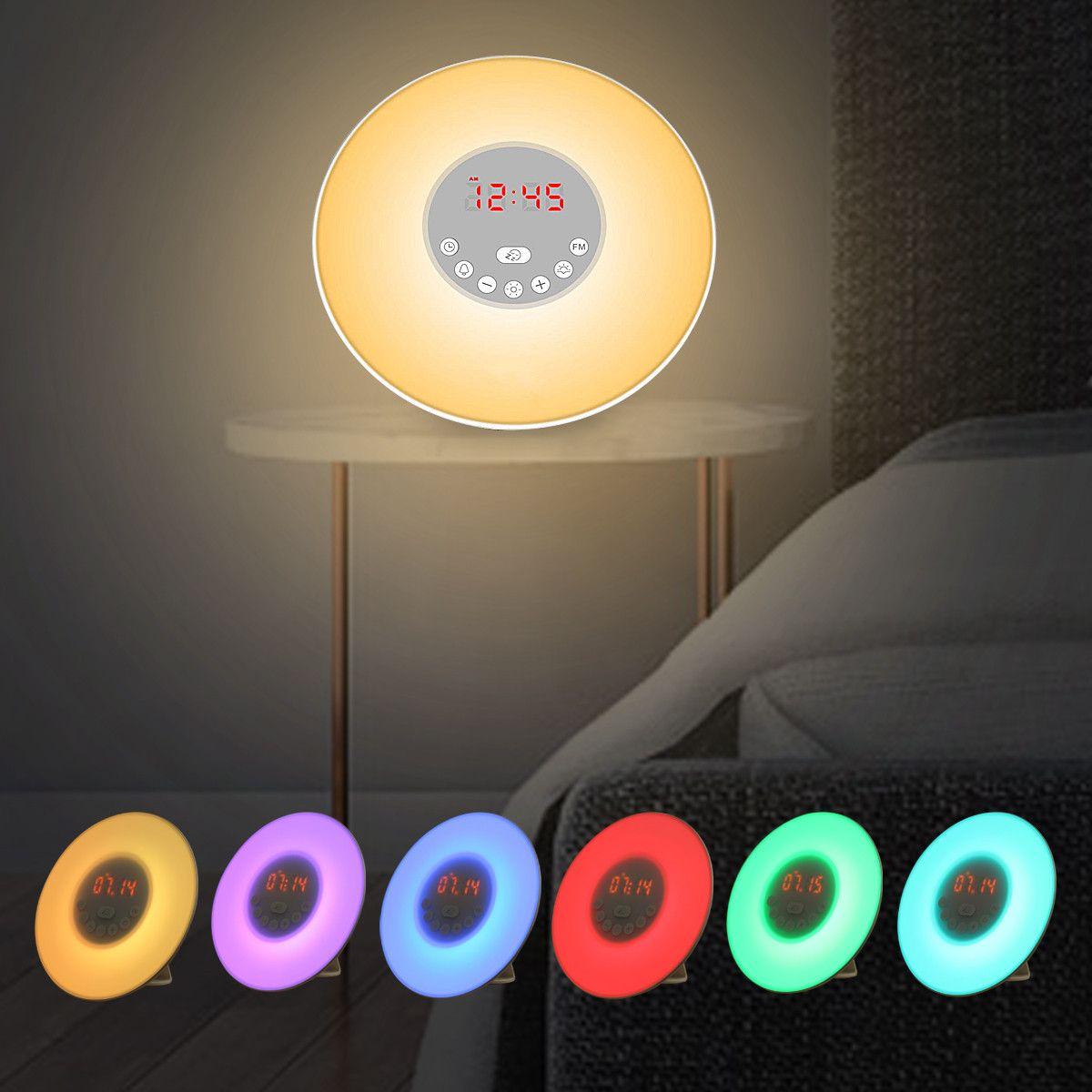 Wake Up Light Sunrise Alarm Clock Snooze Led Fm Radio Bedside Night Lamp Sweet