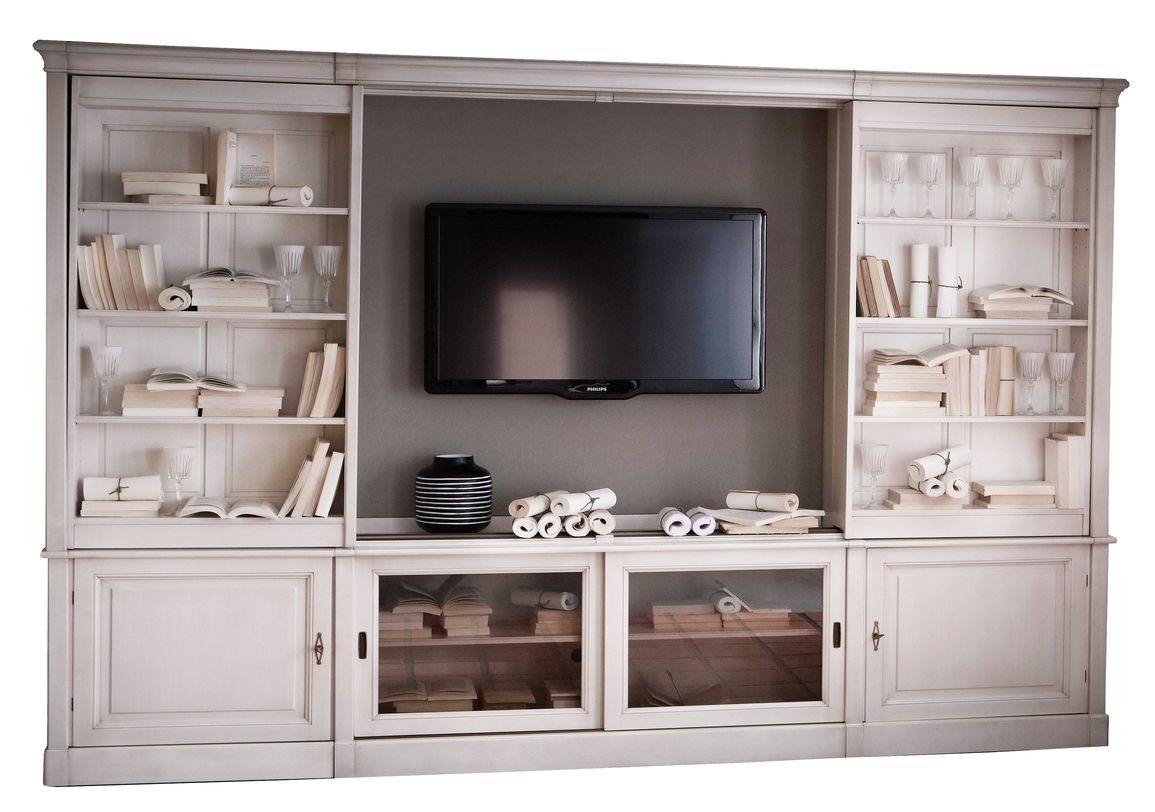 Sliding TV Bookcase Wall Unit from GRANGE Furniture | Bookshelves ...