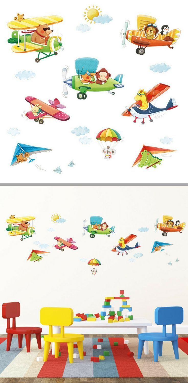 ️ Pilotenzimmer Flugzeug Wandtattoo für das Kinderzimmer