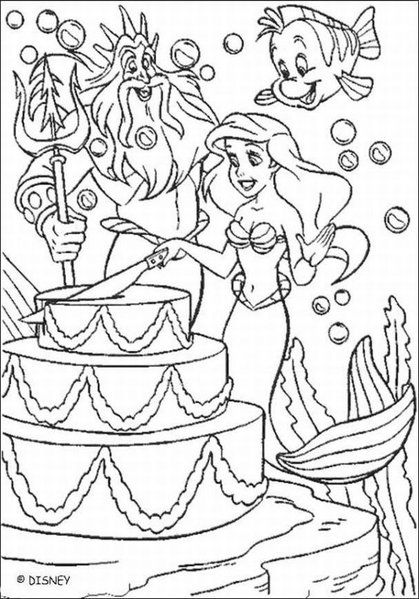Ariel Cutting Birthday Cake Coloring Page