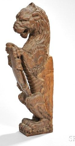 Architectural; Final, Lion with Shield, Carved Oak, 17 inch.
