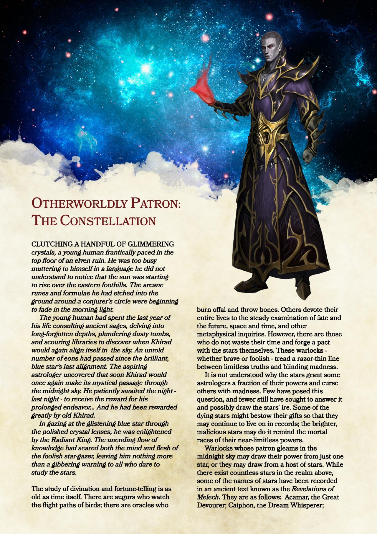 DnD 5e Homebrew — Constellation Patron Warlock By BalthasarBarikdral