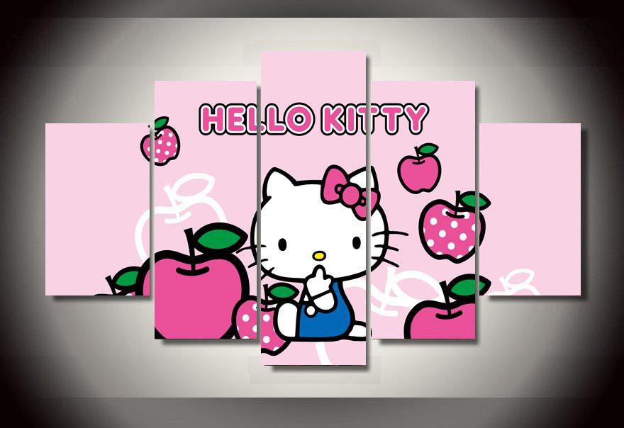 Hello Kitty Apple Cartoon Canvas Wall Art Hello Kitty Wall Art Wall Canvas Canvas Wall Art
