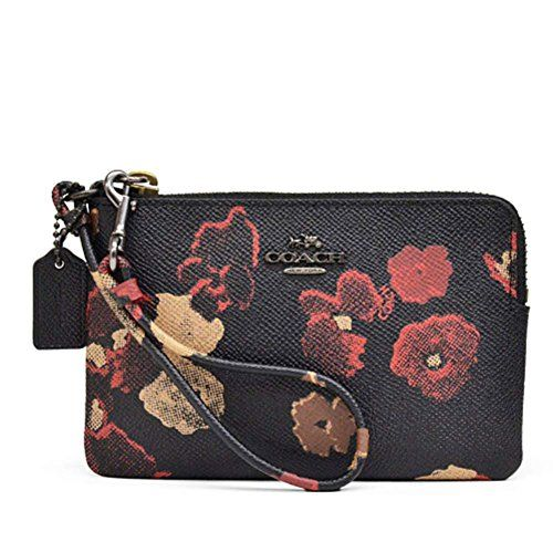 Coach Black Flower Coated Canvas Leather Corner Zip Wristlet