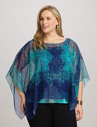 Plus Size Paisley Poncho Dressbarn Inspiring Design