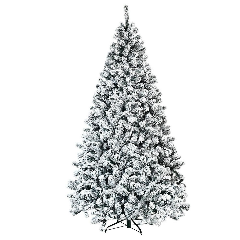 Costway 7 5 Ft Unlit Premium Snow Flocked Hinged Artificial Christmas Tree With Metal Stand In 2020 Unlit Christmas Trees 9ft Christmas Tree Flocked Christmas Trees