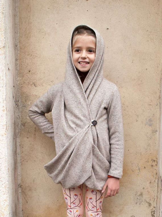 One button gray hooded cardigan/Wrap front sweater/Merino wool ...