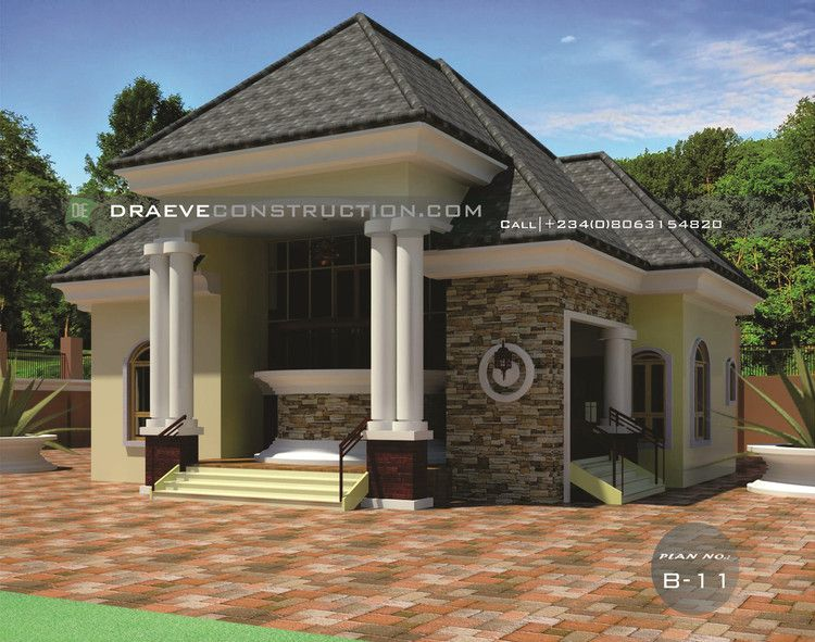 2 Bedroom Flat Bungalow House Plan Architectural House Plans House Plans Bungalow House Plans