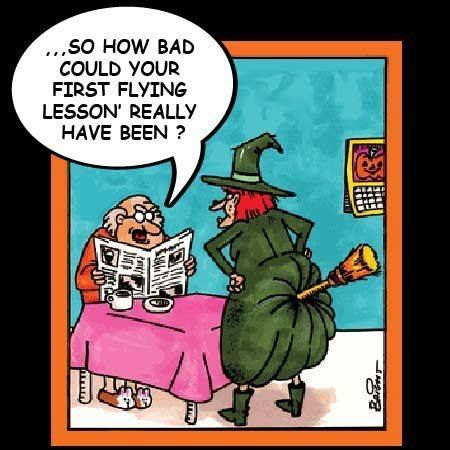 Superieur Funny Adult Cartoon About A Husband And His Witchu0027s First Flying Lesson.