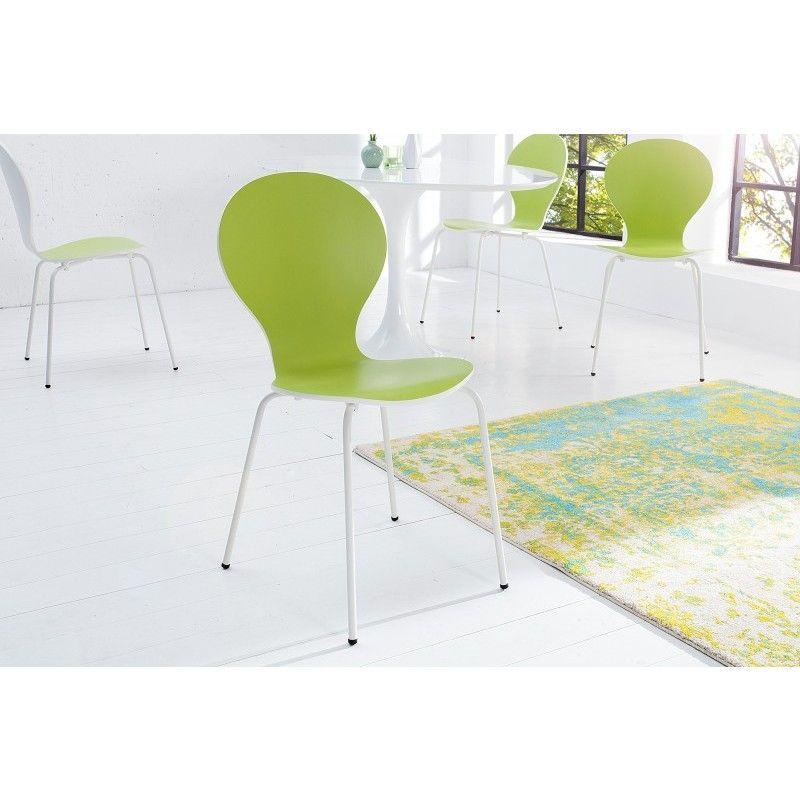 Stoel Form Bicolor Wit Lime stapelbaar - 20651