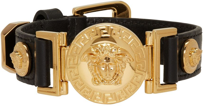 d82d2499b0d9 Versace - Black Leather Medusa Bracelet Oro