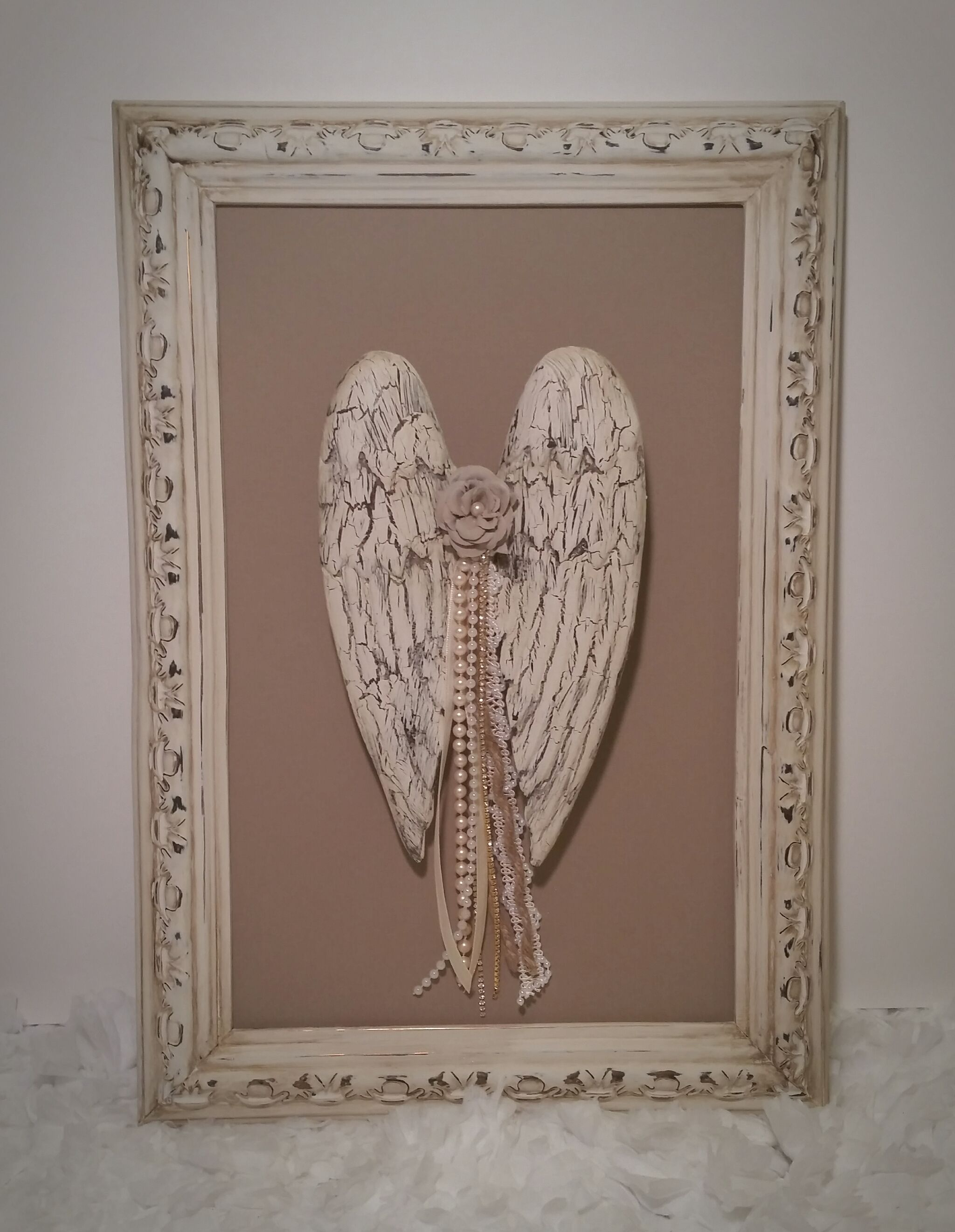 Shabby angel wings french cottage inspired embellished antique country chic shabby angel wings french cottage inspired embellished antique frame jeuxipadfo Image collections