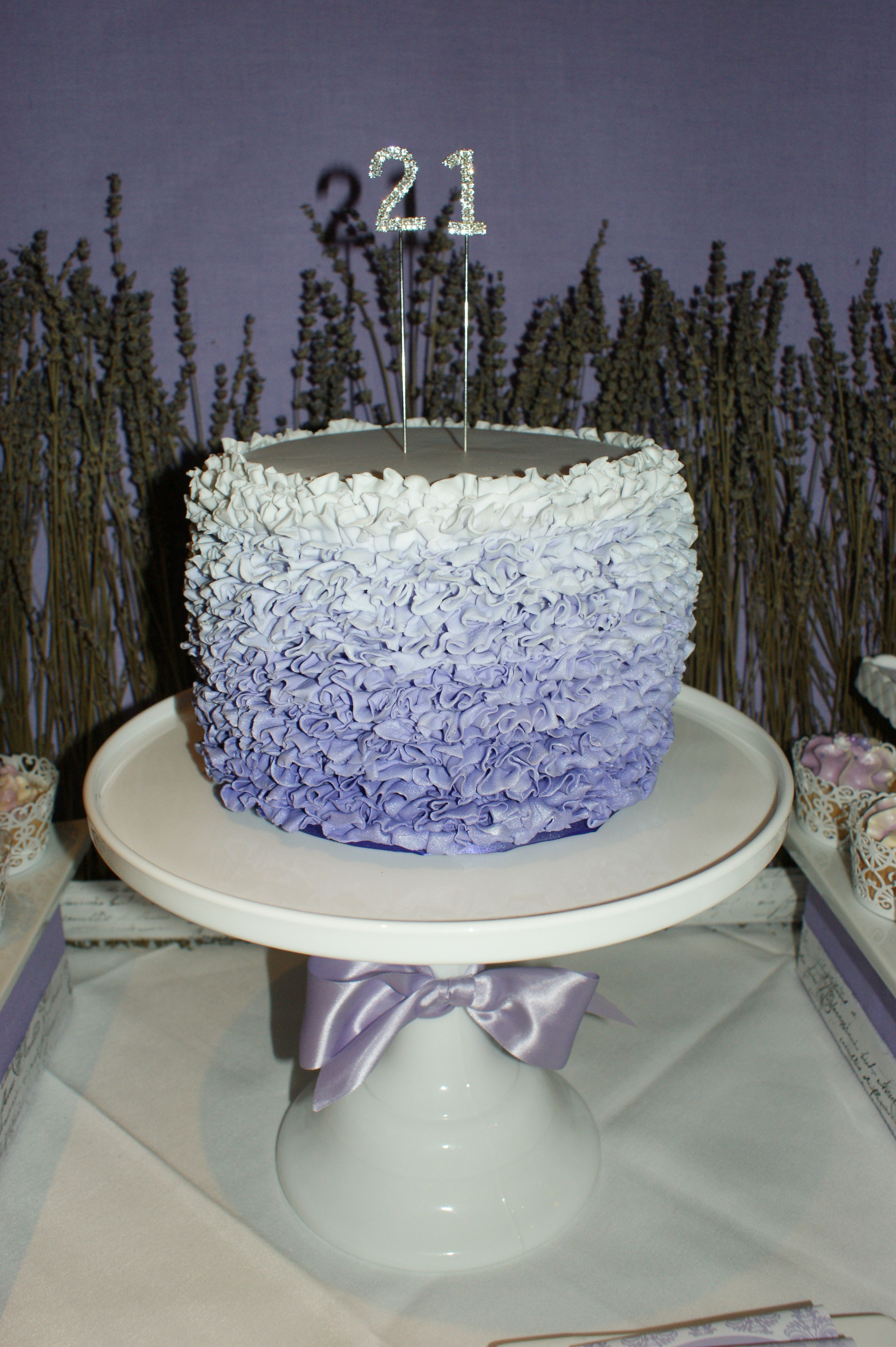 My daughters 21st Birthday cake with ombre ruffling Party Styling