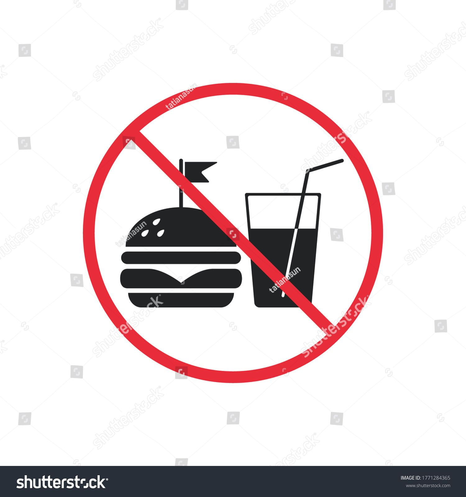 No fast food and drink prohibition icon sign vector