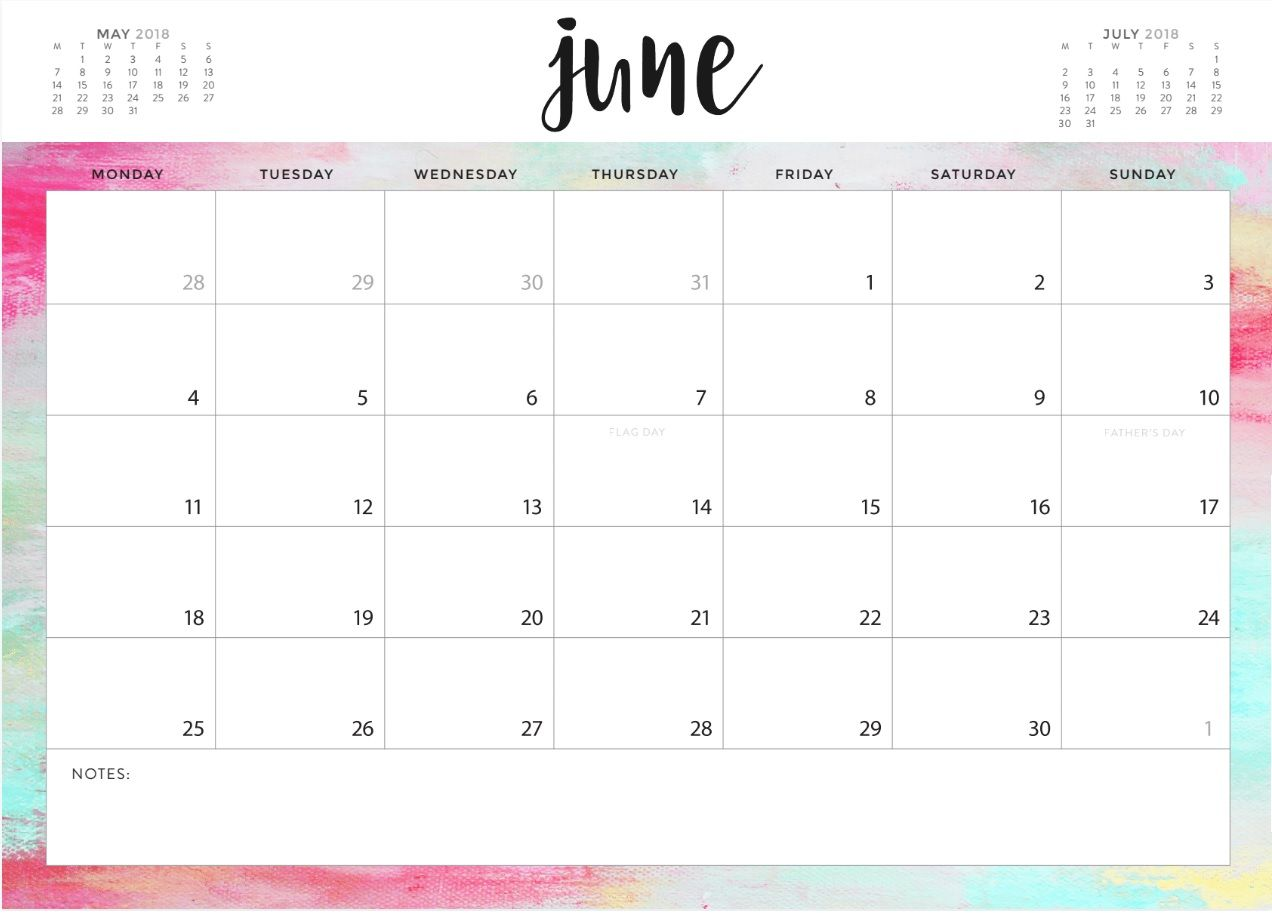 June 2018 Calendar Designs Calendar Design Calendar Printables