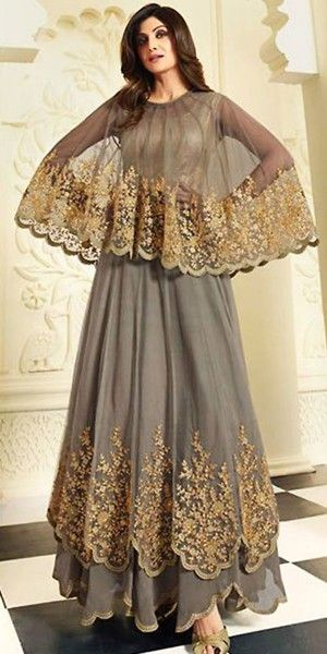f0a5947ab Shilpa Shetty Anrakali Suit Grey Color.
