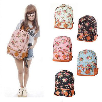 103c9aa5d413 Details about Backpack Womens Canvas Floral Schoolbag Girls Rucks ...