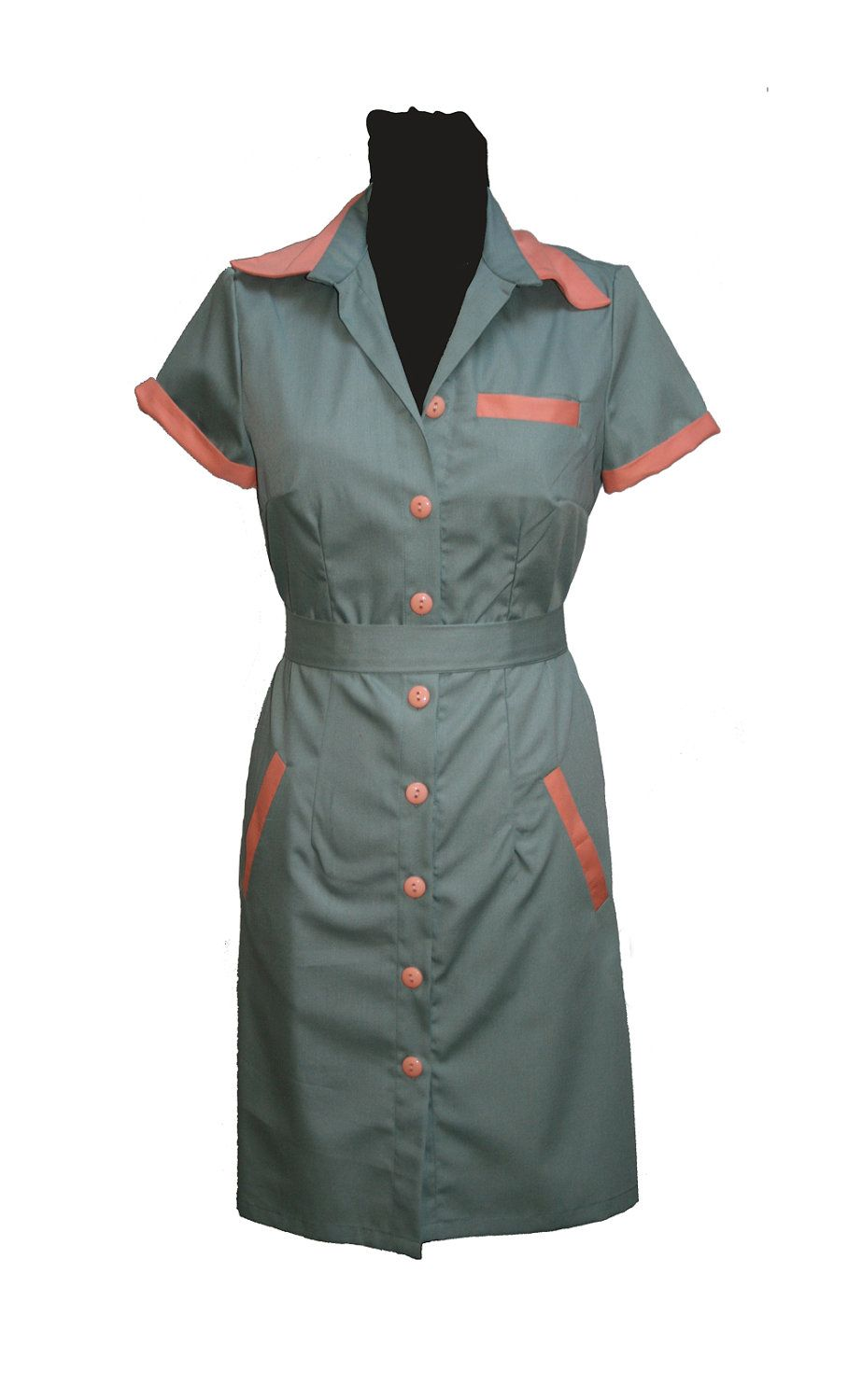Diner dress, retro dress, uniform dress, waitress dress, twin peaks ... 9dec60c3a547
