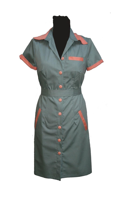 62d7b49519c4 Diner dress, retro dress, uniform dress, waitress dress, twin peaks ...