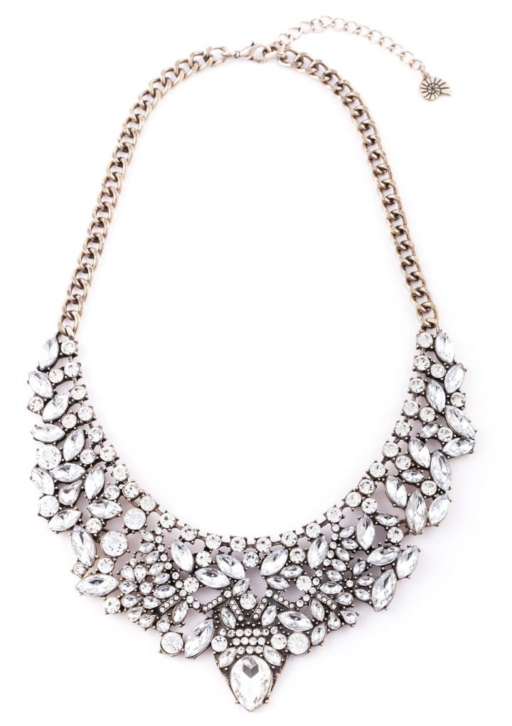 Beautiful Vintage Inspired Statement Necklace With Features Rows Of Crystal Stones For An Ultra Glamourous Look Pair This A White Or Black Dress