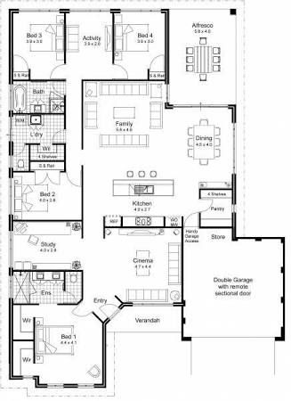 Image Result For Wardrobe Behind Bedhead Floor Plan Open Concept House Plans Dream House Plans Kitchen Floor Plans